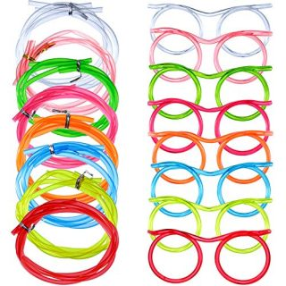 8 Pieces Silly Straw Glasses Eyeglasses Straws Eyeglasses