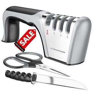 Best Kitchen Scissors and Knife Sharpener,Upgraded 4-Stage Blade Senzu Sharpener Stone(Scissors,Ceramic,Coarse,Fine). Best For Chef/Fillet Knives/Sicssors.Easy Manual Shapening. Quickly Sharpener