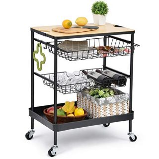 Island Serving Cart with Utility Wood Tabletop
