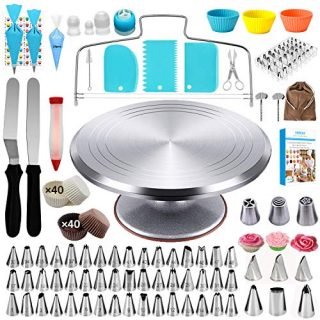 VORCAY Cake Decorating Supplies Kit for Beginner- 188Pcs Birthday Professional Cake Tools Aluminium Rotating Metal Turntable Stand