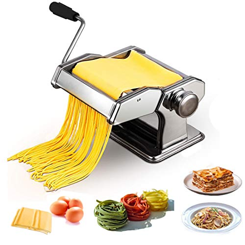 KGK Pasta Maker Hand Crank Pasta Machine, Home Kitchen Stainless Steel Roller Pasta Cutter Dough Noodle Maker Adjustable Thickness Machine for Spaghetti, Fettuccini, Lasagna, Ravioli or Dumpling