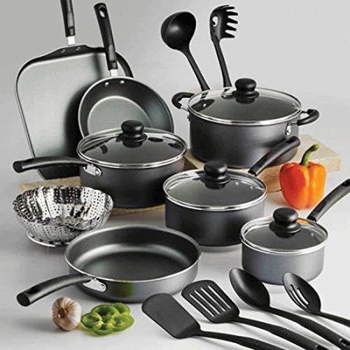 18 Piece Nonstick Pots & Pans Cookware Set Kitchen Kitchenware Cooking NEW (GRAY)