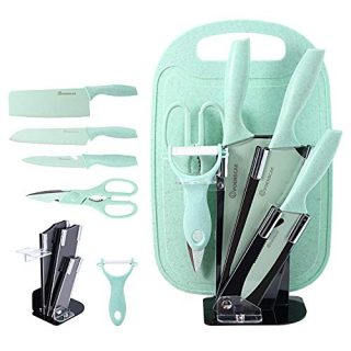 7 Pieces Professional Chef Stainless Steel Knife Dishwasher Safe Set, 3 Knives Kitchen Utensil with Sharp Scissors, Peeler Accessories Stand and Chopping Board (green)