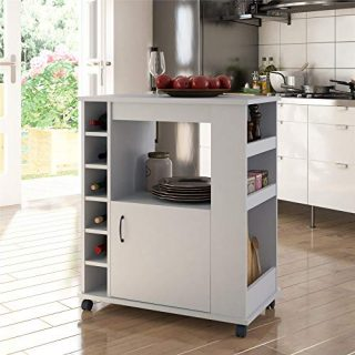 Ameriwood Home Williams, Dove Gray Kitchen Cart