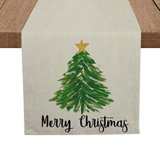 Artoid Mode Merry Christmas Pine Tree Table Runner, Seasonal Winter Xmas Holiday Tablecloth Kitchen Dining Table Linen for Indoor Outdoor Home Party Decor 13 x 72 Inch