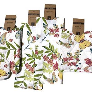 Celebration Butterfly Theme Kitchen Linen Bundle 1 Quilted Pot Holders, 1 Quilted Oven Mitt & 2 Kitchen Towels