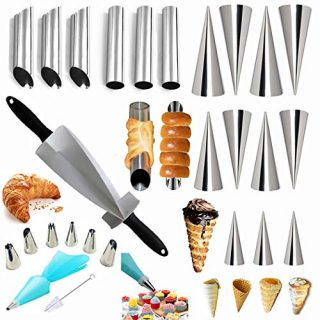 27 Pcs Cannoli Tubes Cake Decorating Kits& Croissants Cutter for Pastry Dough, Cannoli Mold Forms Non-stick Cream Horn Danish Pastry Molds Cone Tubes for Croissant Shell Cream Roll