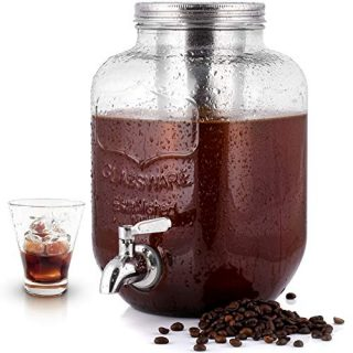 1 Gallon Cold Brew Coffee Maker with EXTRA-THICK Glass Carafe & Stainless Steel Mesh Filter - Premium Iced Coffee Maker, Cold Brew Pitcher & Tea Infuser - by Zulay Kitchen