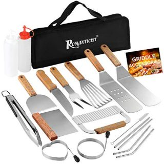 ROMANTICIST 19-Piece Griddle Tool Kit, Professional Stainless Steel Grilling Set with Carry Bag, The Very Best Grill Gift on Valentine's Day Weddings Christmas