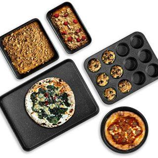 Granite Stone Pro 5 Piece Bakeware Set, 0.8MM Gauge, Durable Nonstick Surface, Oven Safe 550°F with No Warping, Dishwasher Safe, Cookie Sheet, Muffin Pan, Loaf Pan & Round Pan and XL Rectangular Tray