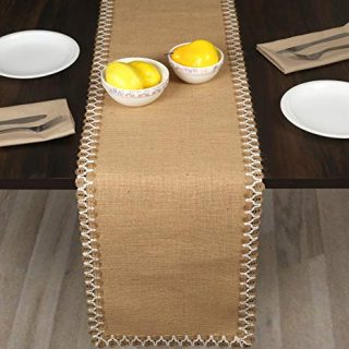 "Burlap Table Runner With Jute Lace 12x108 Inch Natural Color, Farmhouse Jute Table Runner,Rustic Natural Burlap Jute Table Runner, Table Runner 108"",Wedding Table Runner,Kitchen Table runner-Set Of 2"