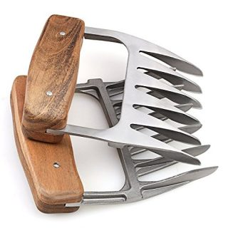 Metal Meat Claws, 1Easylife 18/8 Stainless Steel Meat Forks with Wooden Handle, Best Meat Claws for Shredding, Pulling, Handing, Lifting & Serving Pork, Turkey, Chicken, Brisket