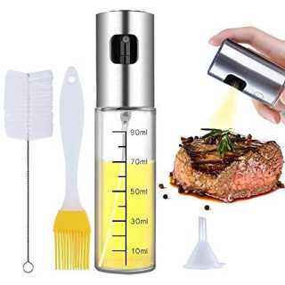Ninonly Oil Sprayer Oil Dispenser with Scale Transparent Food-Grade Portable Spray Bottle Vinegar Bottle Air Fryer Stainless Steel for Salad BBQ Frying Grilling Kitchen Baking Roasting
