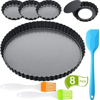 5 Pieces 9 Inch and 4 Inch Non-Stick Tart Pan Round Carbon Steel Quiche Pan Baking Dish Pan with 2 Pieces Pastry Brush and Spatula for Kitchen Cooking Baking