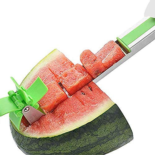 Premier Chef Watermelon Windmill Cutter, Stainless Steel Slicer Cutter Knife Corer Fruit Vegetable Tools Kitchen Gadgets with Melon Baller Scoop Extra - (Green)