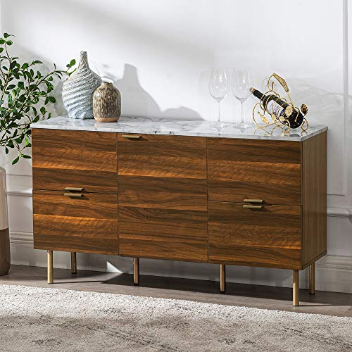 "GOOD & GRACIOUS Sideboard Cabinet, Mid Century Modern Console Storage Buffet Credenza Cabinet, Faux Marble Top with 4 Drawers and 1 Door for Living Room, Kitchen, Ding Room or Entryway, 48"", Walnut"