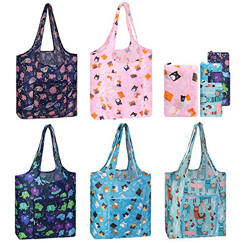 Reusable Grocery Bags Set 5 Pack Foldable