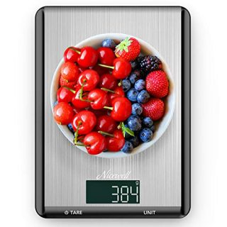 Food Scale - Nicewell Kitchen Scale Digital Food Weight Grams and oz Cooking Baking, Max. 22lb/10kg, 0.1oz 1g Accuracy, Sleek Stainless Steel Panel Easy to Clean