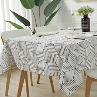 "SASTYBALE Rectangle Tablecloth Geometric Style Cotton Linen Table Cloth Dust-Proof Table Cover for Kitchen Dinning Tabletop Decoration (Rectangle/Oblong, 52"" x 90"" (6-8 Seats), White)"
