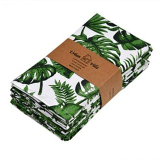 Urban Villa,Tropical Print,Premium Quality,Dinner Napkins, 100% Cotton, Set of 12, Size 20X20 Inch, Multi Colors, Over sized Cloth Napkins with Mitered Corners, Ultra Soft, Durable Hotel Quality