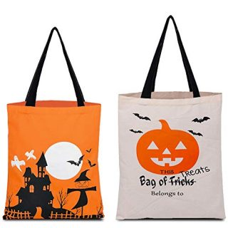 Halloween Tote Bag Trick or Treat Candy Bags, Reusable Grocery Bag for Candy, Gifts, Grocery, Shopping