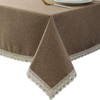 EHouseHome Faux Linen Tablecloth with Lace Trim - Waterproof/Spill Proof/Stain Resistant/Wrinkle Free/Oil Proof - for Banquet, Parties, Dinner,Kitchen,Wedding,Coffee,Holiday,Flax,Rectangle 60x84Inch