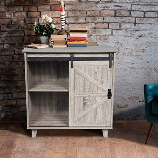 GOOD & GRACIOUS Sideboard, Modern Farmhouse Industrial Entryway Bar Cabinet for Living Room, 2-Tier Sliding Barn Door Kitchen Buffet Storage Cabinet Nightstand, Light Grey