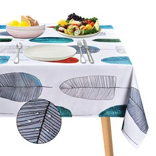 "ASPMIZ Leaf Tablecloth, Colorful Leaves Table Cloth for Rectangle Tables, Simple Style Modern Waterproof Tablecloth for Kitchen Dining Room, Tablecloth Square 55"" x 55"""