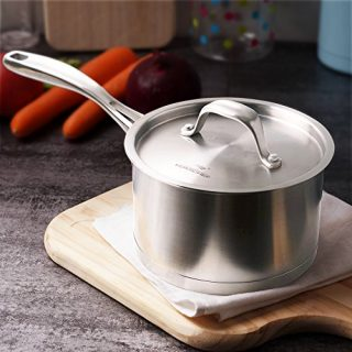HOMICHEF Matte Polished NICKEL FREE Stainless Steel 1.75 QT(Quart) Sauce Pan/Sauce Pot with Lid - Cookware Pots And Pans Sets 30111