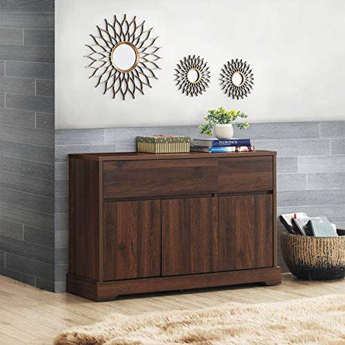 Giantex Buffet Sideboard, Storage Console Table with 2 Drawers and 2 Cabinets, Buffet Server Cupboard for Kitchen, Dining Room, Living Room, Entryway, Credenza, Walnut