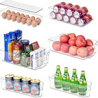 6 Pack Refrigerator Organizer Bins (4 Drawers+1 Soda Dispenser+1 Egg Holder)BPA Free Plastic Clear Food Storage Container for Fridge Freezer Countertop Cabinet Kitchen Pantry Organization and Storage