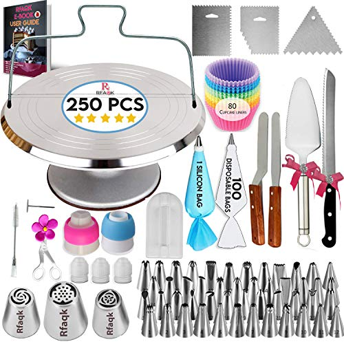 250PCs Cake Decorating Kit with Aluminum Metal Turntable-Rotating Stand & knife set-48 Numbered Icing tips-3 Russian Piping Nozzles-Straight & Angled Spatula-Cake Leveler& Baking supplies tools