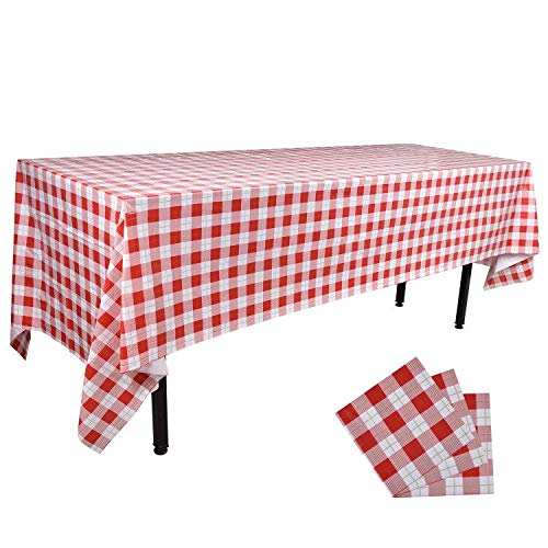 Red White Gingham Rectangular Waterproof Tablecloth