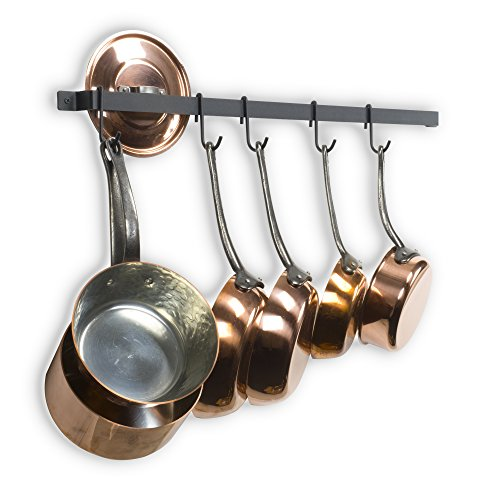 """Wallniture Casto 30"""" Gourmet Kitchen Rail with 15 S Hooks for Hanging Kitchen Utensils Set and Cookware, Iron, Frosty Black"""