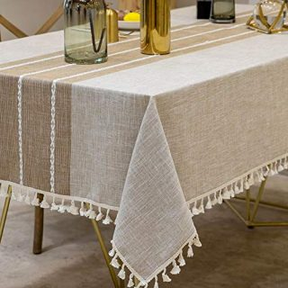 Deep Dream Tablecloths, Stitching Tassel Table Cloth,Cotton Linens Wrinkle Free Anti-Fading,Table Cover Decoration for Kitchen Dinning Party (Rectangle/Oblong, 55''x70'',4-6 Seats, Light Coffee)