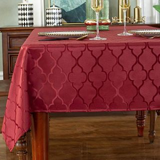 """Jacquard Tablecloth Flower Pattern Polyester Table Cloth Spill Proof Dust-Proof Wrinkle Resistant Table Cover for Kitchen Dining Tabletop Decoration (Rectangle/Oblong, 60"""" x 102"""" (8-10 Seats),Red)"""