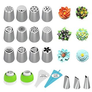 Russian Piping Tips, Cake Decorating Supplies, 28Pcs Cake Decorating Tips Baking Supplies Set Icing Piping Tips for Baking Cupcake Birthday Party, 15 Flower Frosting Tip 2 Couplers 10 Pastry Bags