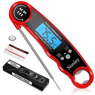 Nonley Instant Read Meat Thermometer - Best Waterproof Ultra Fast Thermometer with Backlight & Calibration,Digital Food Thermometer for Cooking,Kitchen, BBQ, and Grill