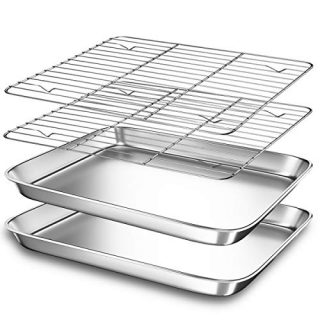 2-Pack Small Toaster Oven Tray with Cooling Rack for Baking