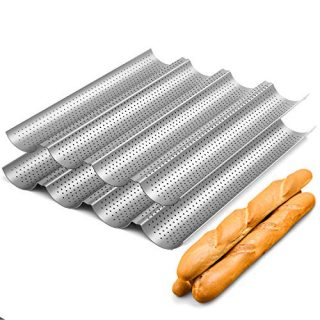 """2 Pack Nonstick Perforated Baguette Pan 15"""" x 13"""" for French Bread Baking 4 Wave Loaves Loaf Bake Mold Oven Toaster Pan (Silver)"""
