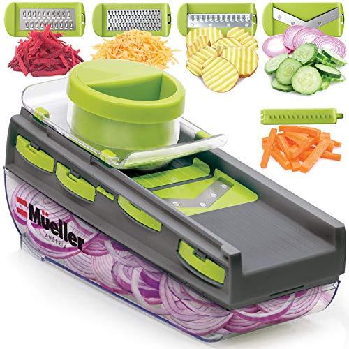 Mueller Mandoline Slicer, Premium Quality V-Pro Five Blade Adjustable Vegetable Slicer, Cutter, Shredder, Veggie Slicers for Fruits and Vegetables