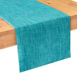 Teal Kitchen Table Runners (13x64 inch, Pack of 1) Fabric Lined | Properly Finished, No Fray Edges | for Home, Kitchen, Dining Room, Holiday, Wedding Party Décor
