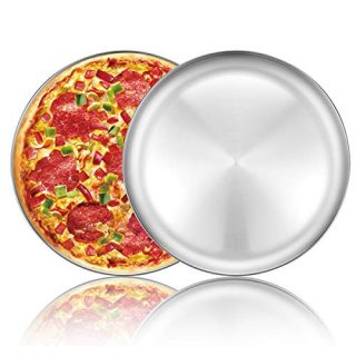 Pizza Baking Pan Pizza Tray - Deedro 12 inch Stainless Steel Pizza Pan Round Pizza Baking Sheet Oven Tray Pizza Crisper Pan, Healthy Pizza Cooking Pan for Oven, 2 Pack