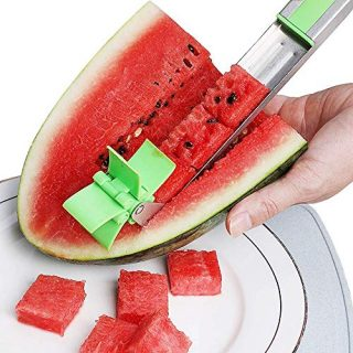 Magical Watermelon Slicer, Stainless Steel Cutter Knife Corer Fruit Vegetable Tools, Perfect Kitchen Tool For Cutting Fruit Cubes