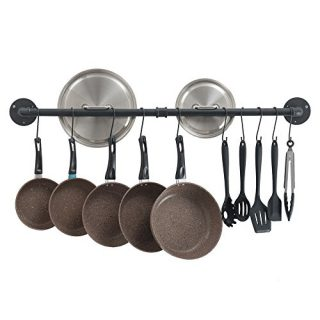 OROPY 39 inch Pot Bar Rack Wall Mounted Detachable Pans Hanging Rail Kitchen Lids Utensils Hanger with 14 S Hooks Black