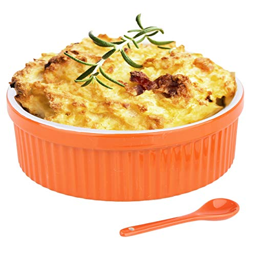 Souffle Dish Ramekins for Baking – 48 Oz, 1.5 Quart Large Ceramic Oven Safe Round Fluted Bowl with Mini Condiment Spoon for Soufflé Pot Pie Casserole Pasta Roasted Vegetables Baked Desserts (Orange)