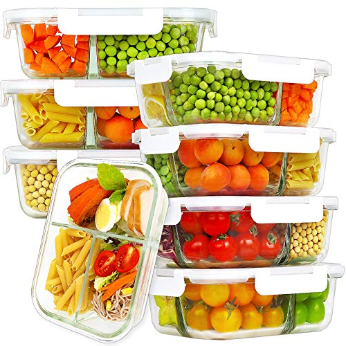 Bayco 8 Pack Glass Meal Prep Containers 3 Compartment