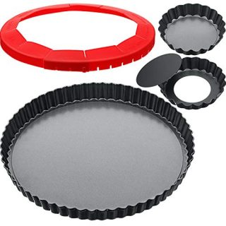 9 Inch and 4 Inch 4 Pieces Tart Pan Removable Bottom Quiche Pan Adjustable Pie Crust Shield Round Non-Stick Pie Baking Carbon Steel for Kitchen Cooking Baking