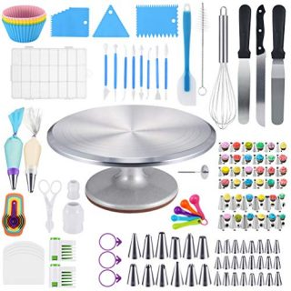 Cake Decorating Supplies Kit 120 Pieces with Aluminium Locking Rotating Turntable Stand, Frosting & Piping Tips, Icing Spatula, Scraper, Smoother, Flower Nails, Cutter, Pastry Bags, Pro Baking Tools