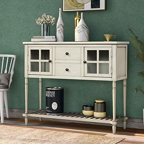 Sofa Table Buffet Table Console Tables with Two Storage Drawers Two Cabinets and Bottom Shelf Storage Buffet Sideboard Cabinet for Kitchen Farmhouse Console Table for Living Room,(Antique Grey)